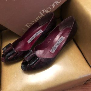 Vintage Evan Piccone Leather Snakeskin Peep Toe